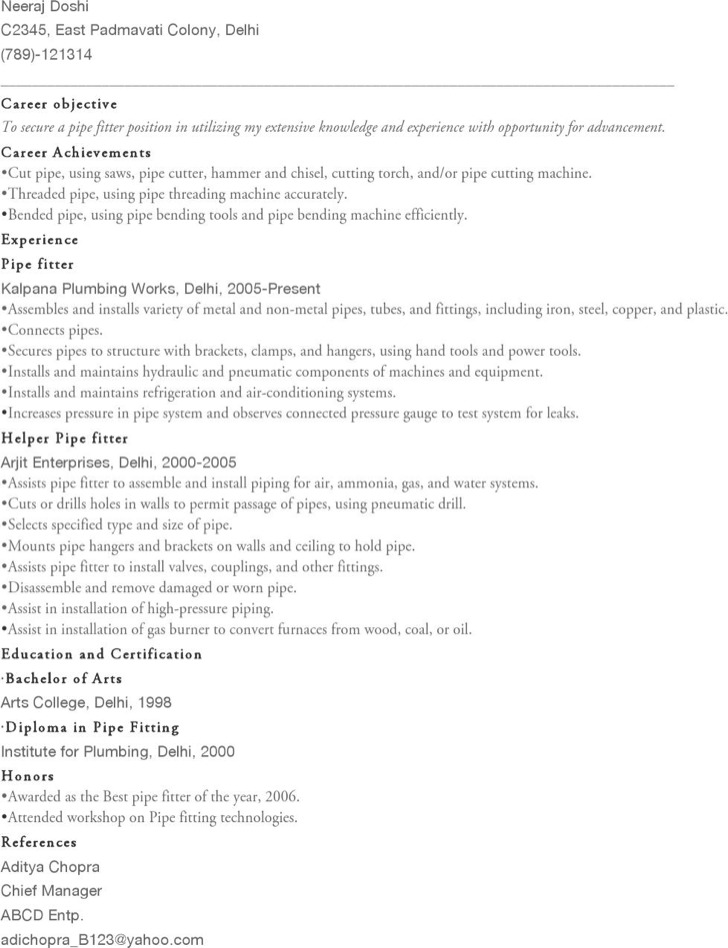Unforgettable Pipefitter Resume Examples To Stand Out Pipefitter