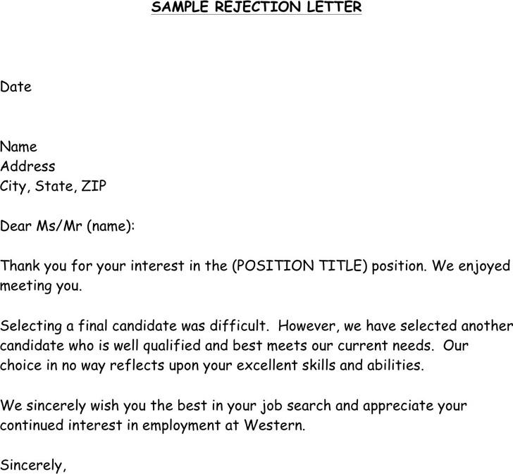 Sample Post Interview Rejection Letter