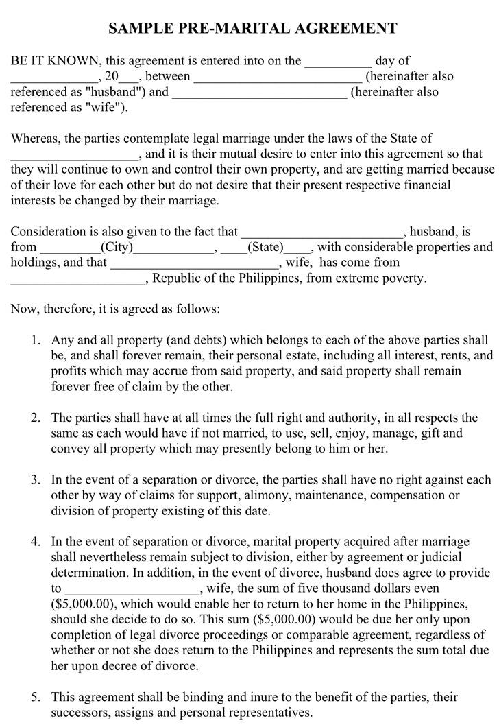 Sample Pre-Marital Agreement