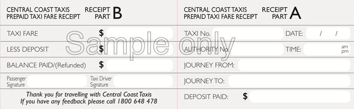 Sample Prepaid Taxi Receipt