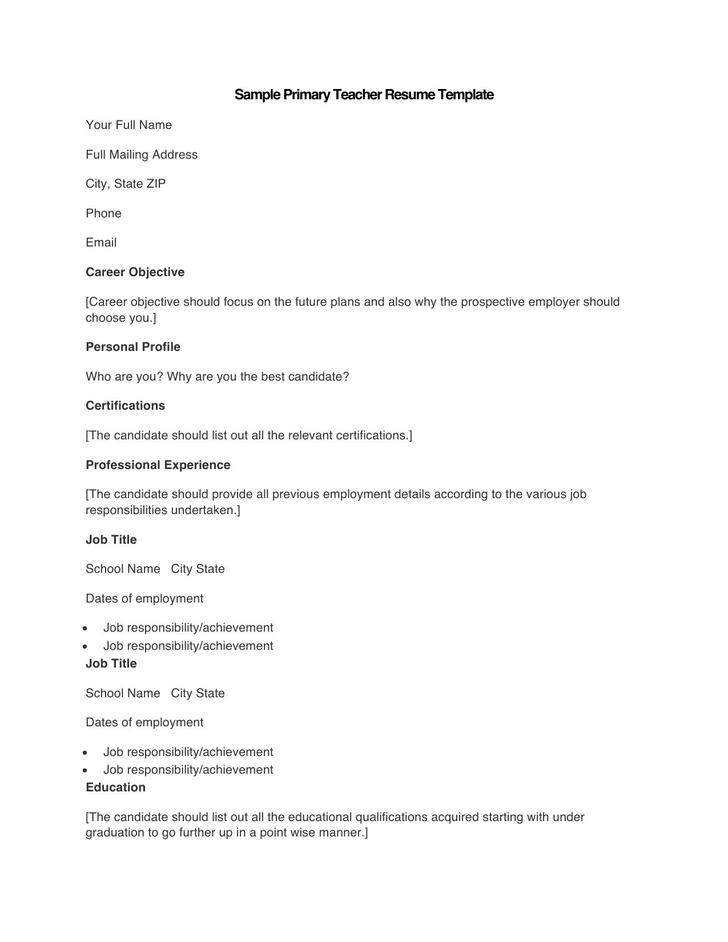 Sample Primary Teacher Resume Template