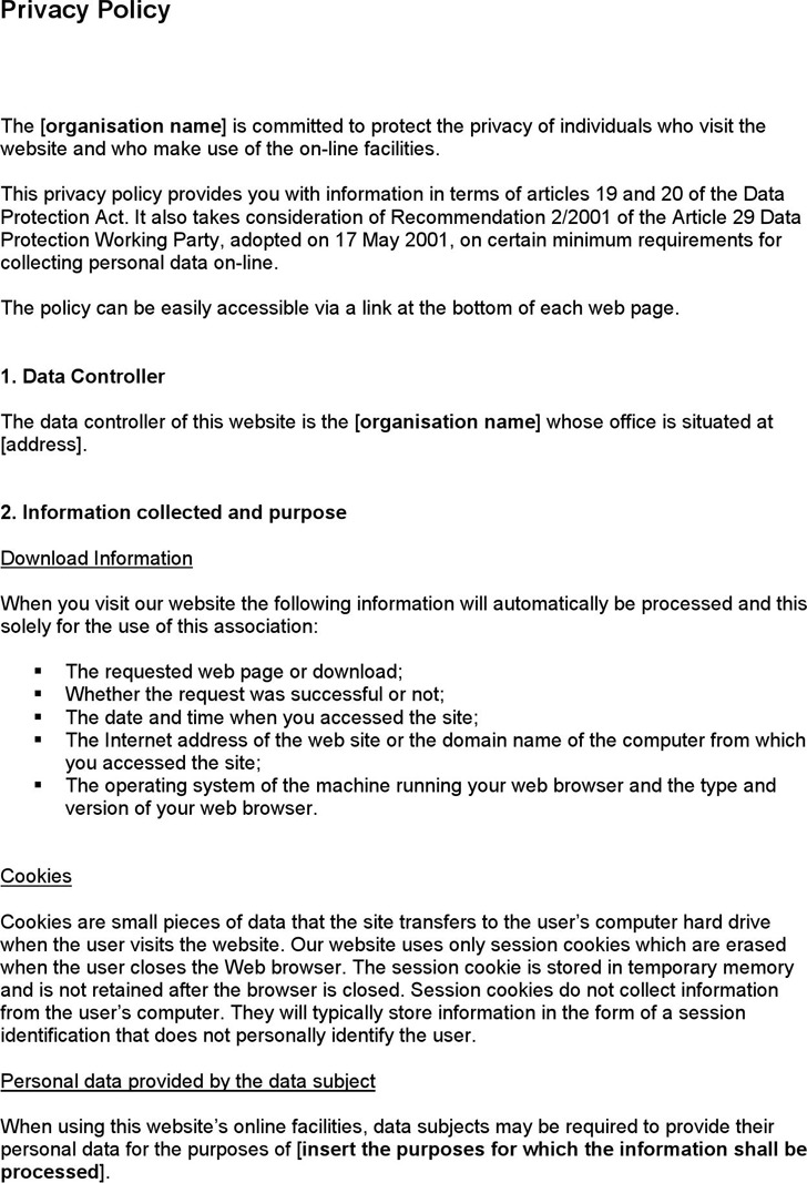 Privacy Policy Sample – Privacy Policy Sample Template