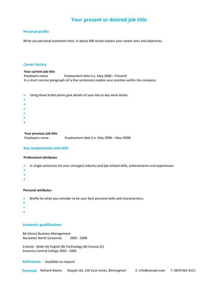 Sample Professional Resume CV Template