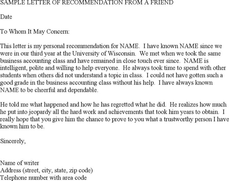 Sample Recommendation Letter From A Friend Pdf Download