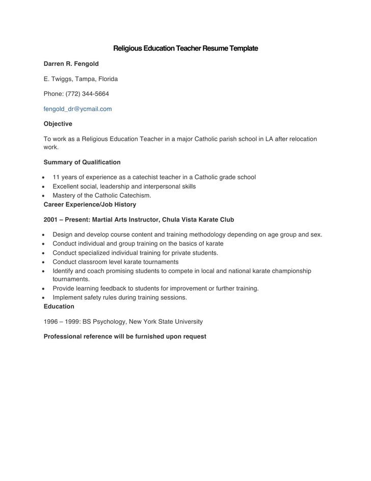 Sample Religious Education Teacher Resume Template