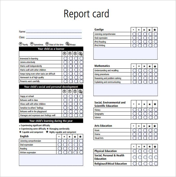 Sample Report Card Template PDF