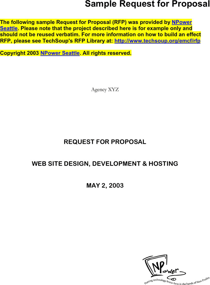 Sample Request For Proposal