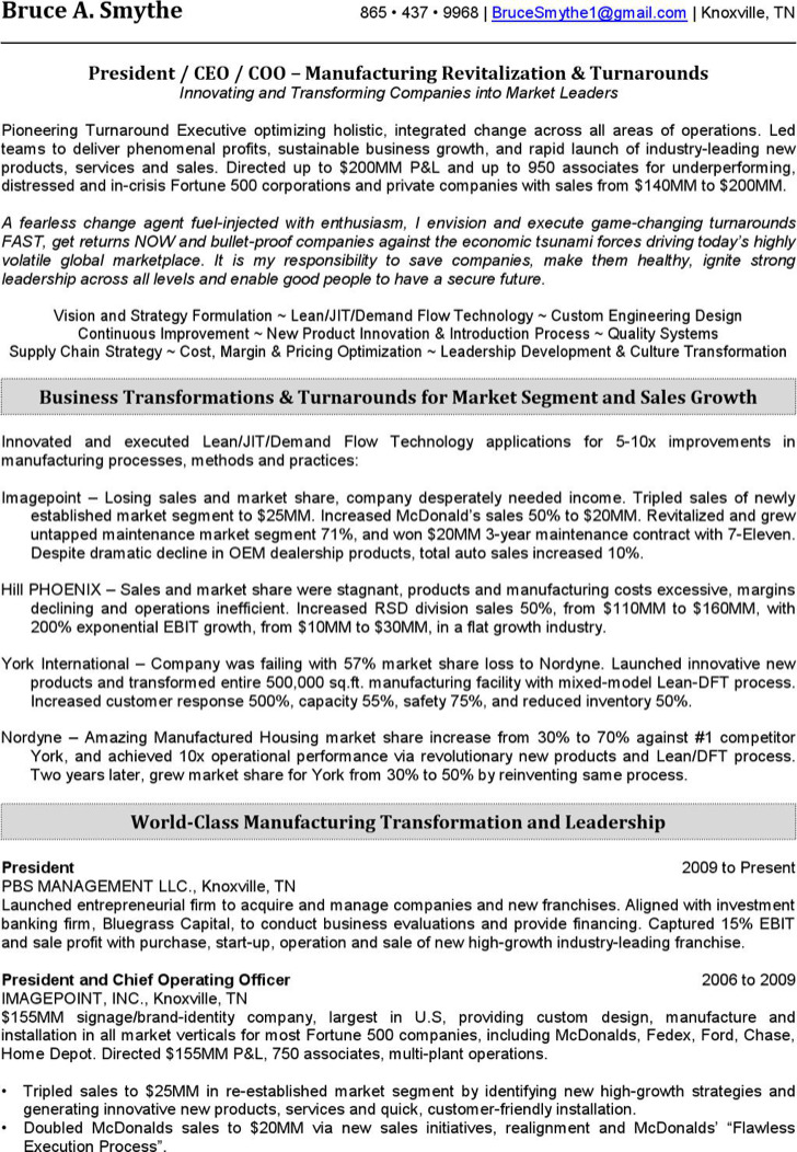 Sample Resume For Ceo Position