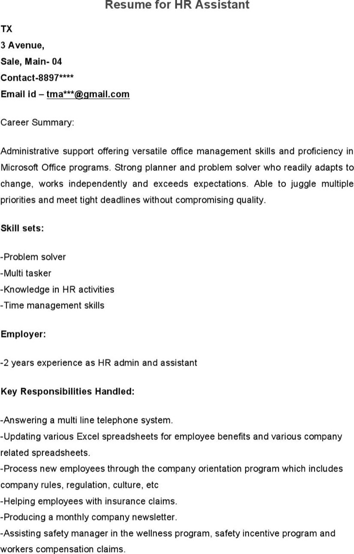 sample hr assistant resume