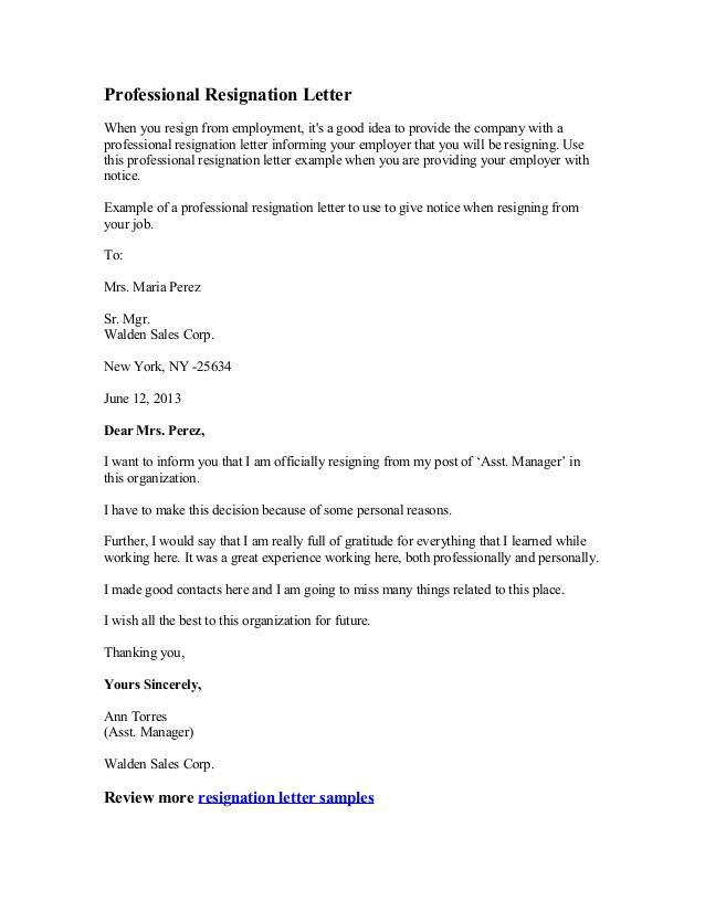 Sales Resignation Letter