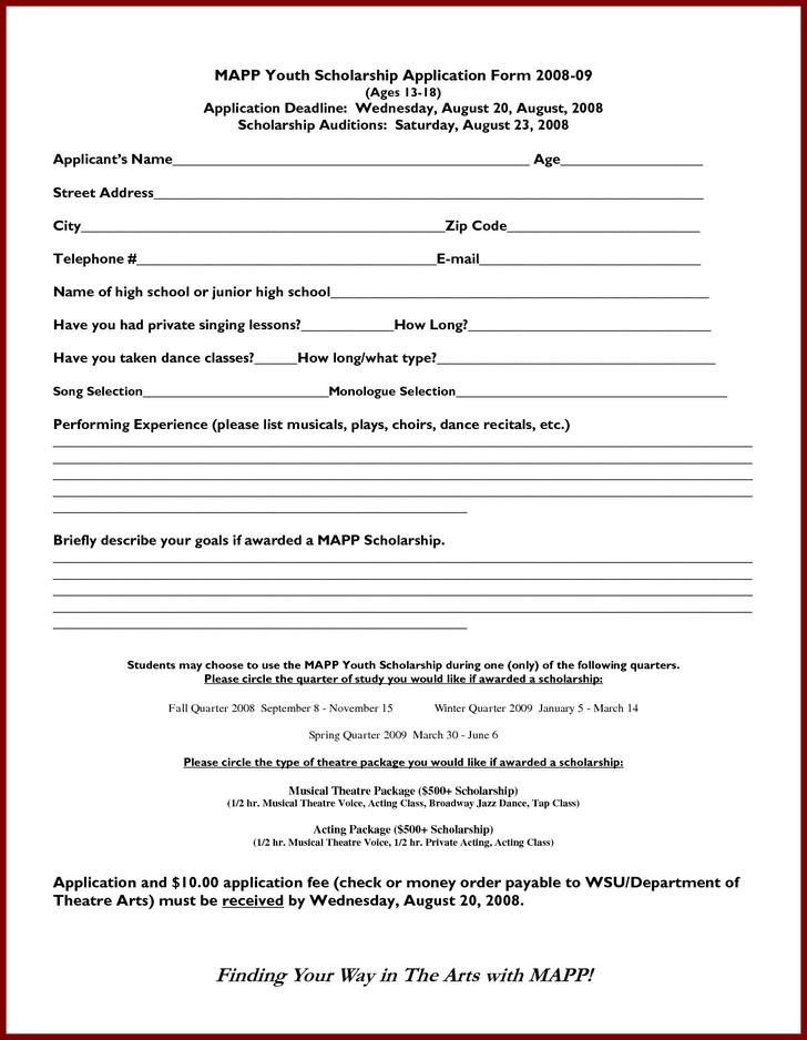 Scholarship application templates download free for Scholarship forms template