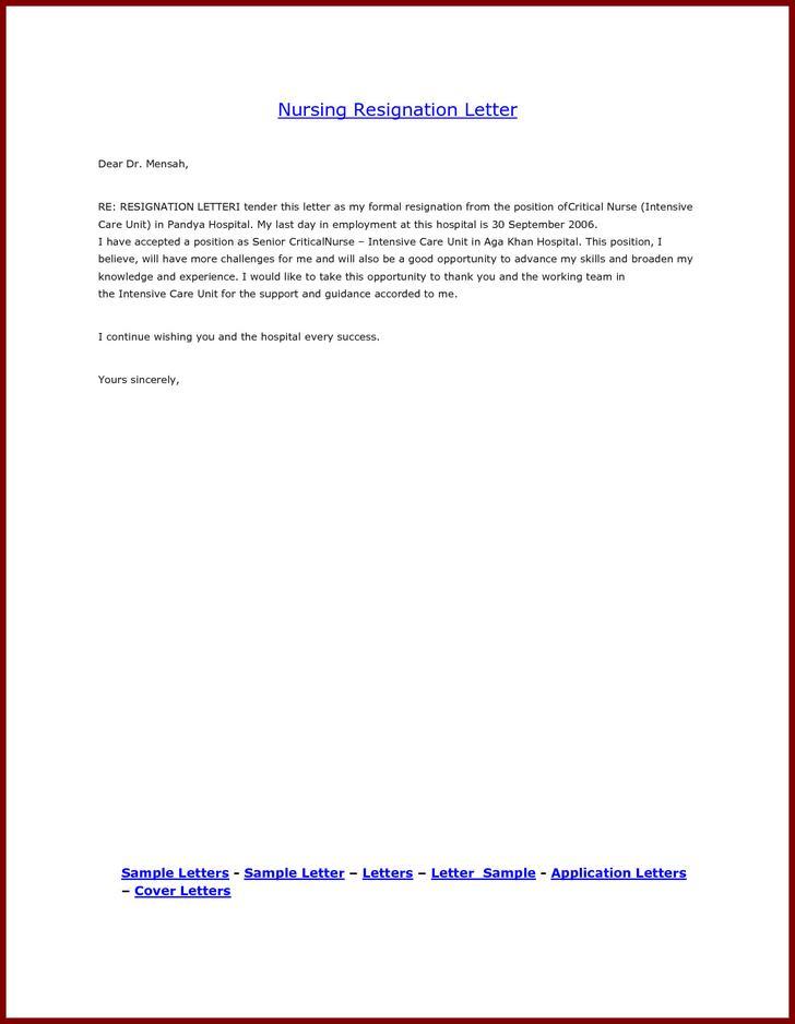 Sample School Nurse Resignation Letter