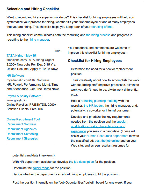 Sample Selection and Hiring Checklist