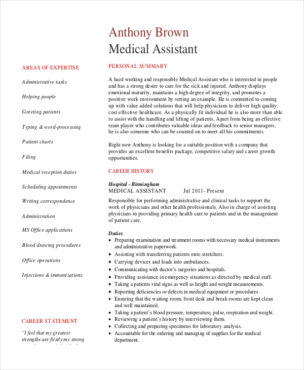 Sample Senior Medical Administrative Assistant Resume
