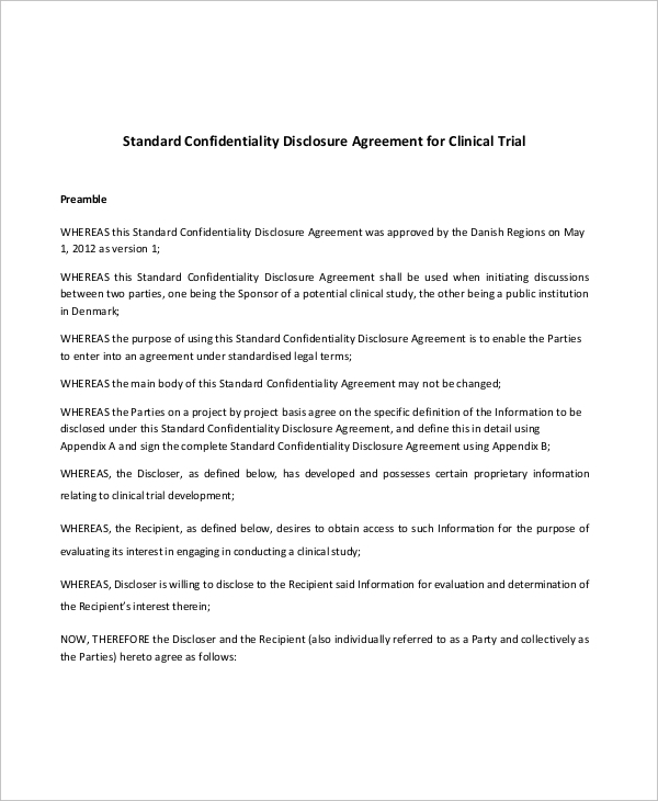 Sample Standard Confidentiality Disclosure Agreement for Clinical Trial