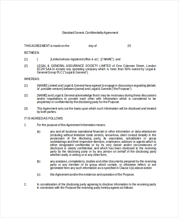 Sample Standard Generic Confidentiality Agreement