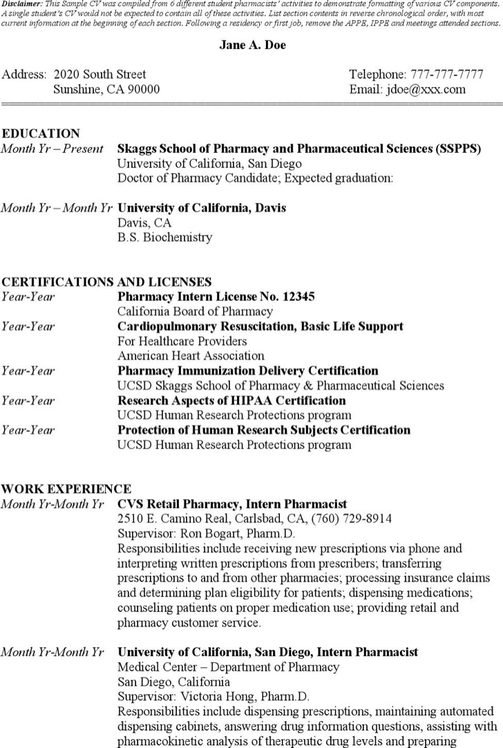 Sample Student Pharmacist Resume Templates
