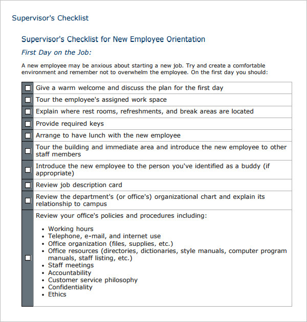 Sample Supervisor's Checklist for New Employee Orientation