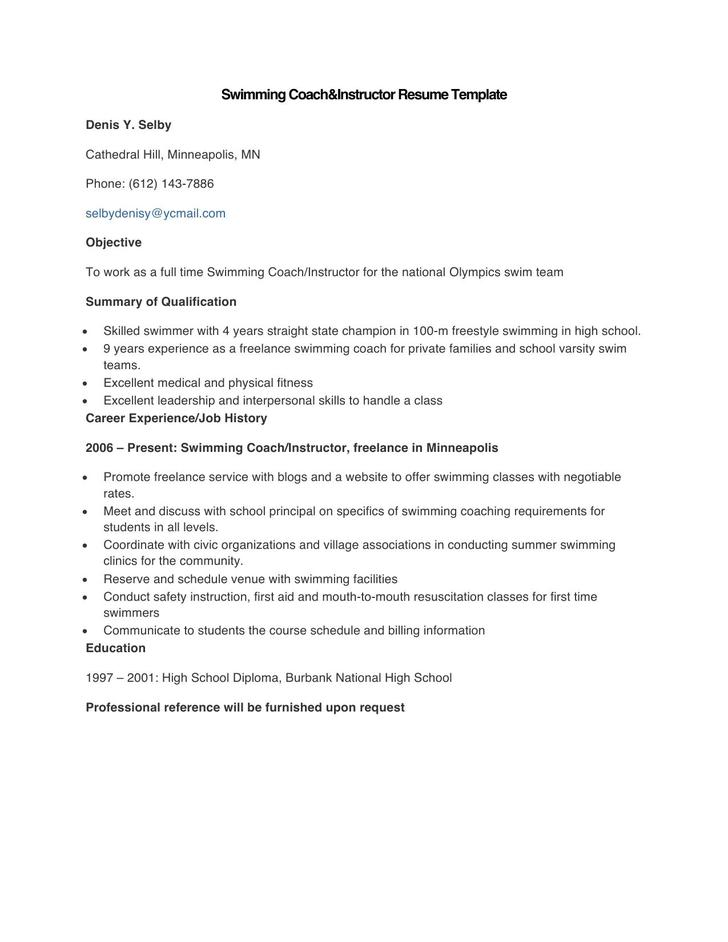 Sample Swimming Coach and Instructor Resume Template