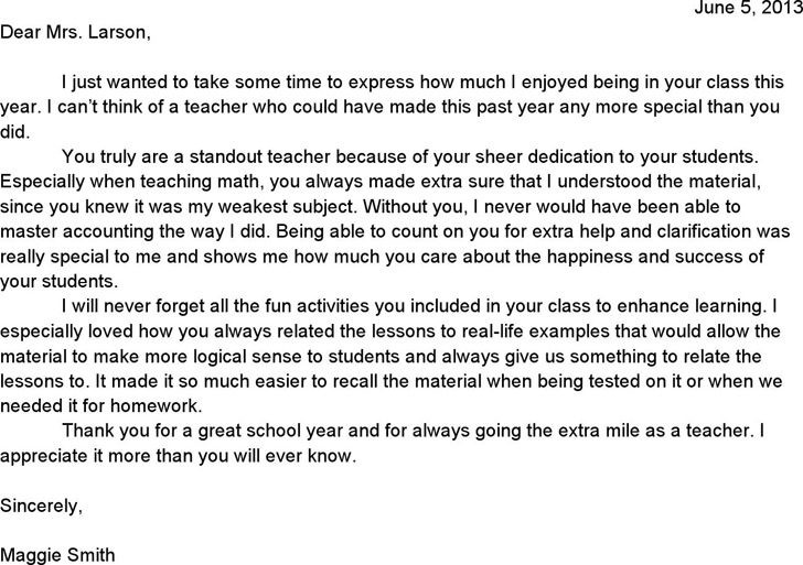 Sample Teacher Appreciation Letter