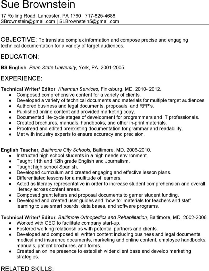 6  technical writer resume templates free download