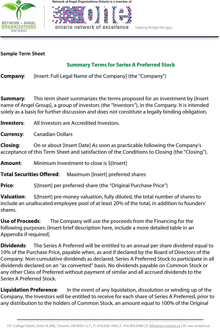 Sample Term Sheet 2