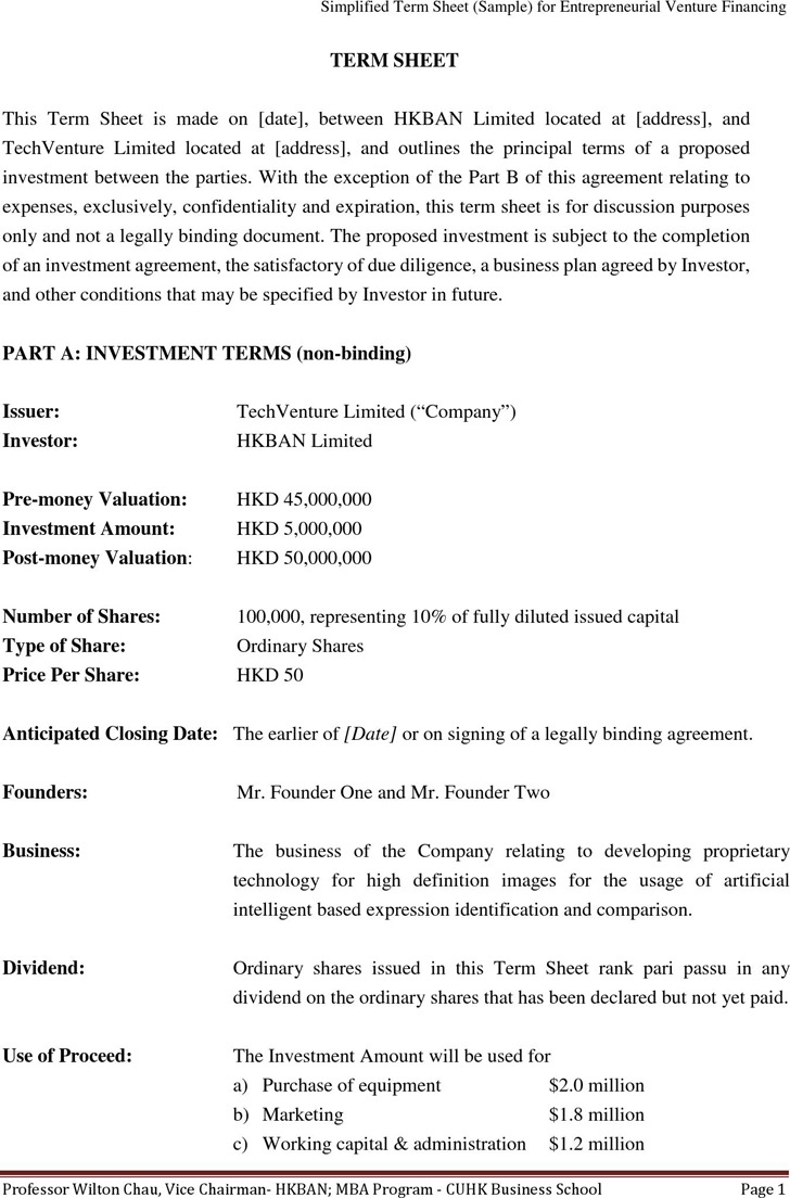 Sample Term Sheet for Entrepreneurial Venture Financing