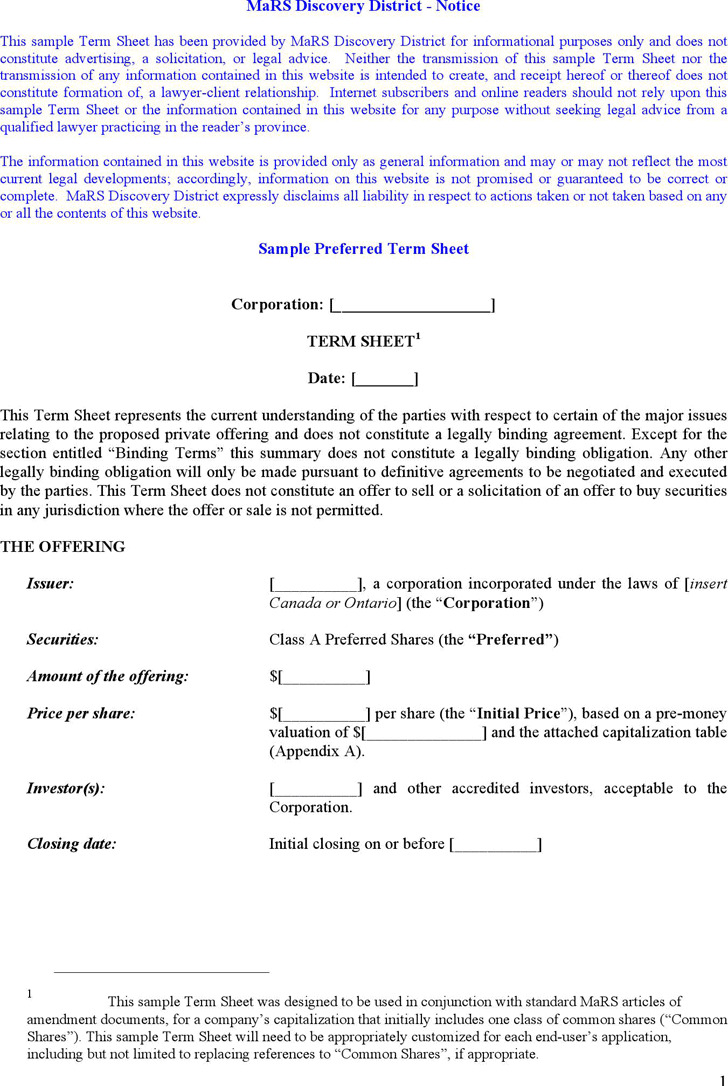 Sample Term Sheet Template