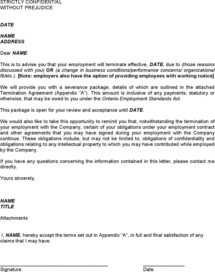 Sample Termination Agreement Between Company Employee Format