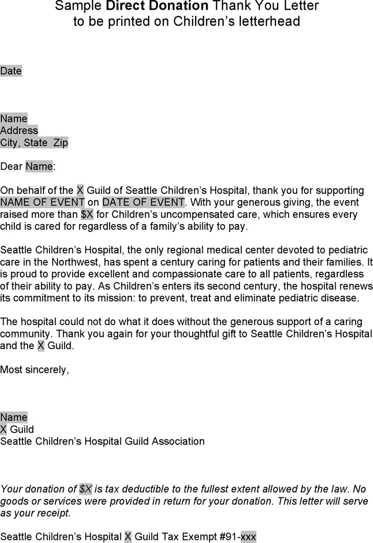 Sample Thank You Letter Direct Donation