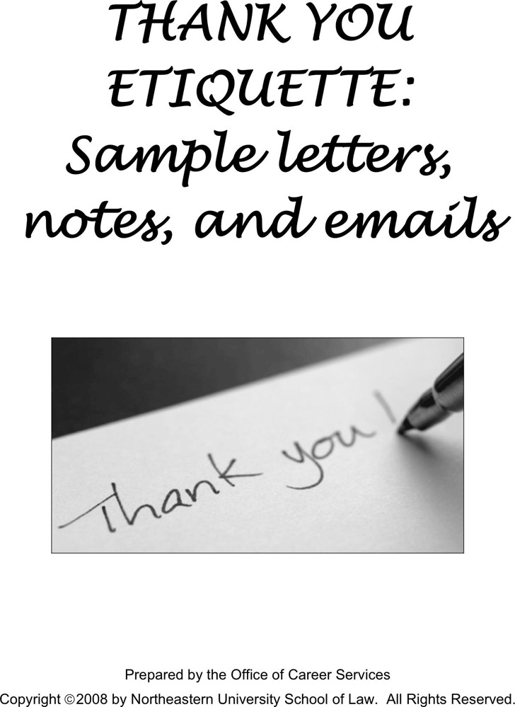 Sample Thank You Letters ,Notes And Emails