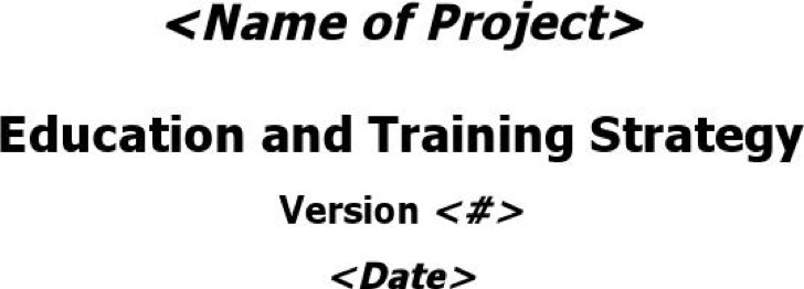 Sample Training Strategy Doc Format Template