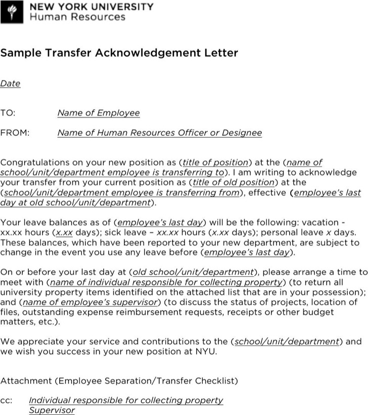 Sample Transfer Acknowledgement Letter Template Pdf Download