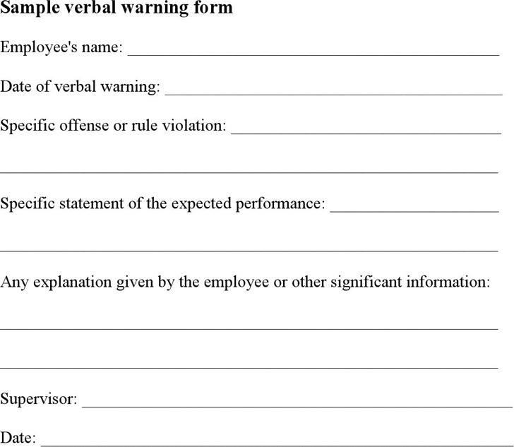 Verbal Warning Template  Download Free  Premium Templates Forms