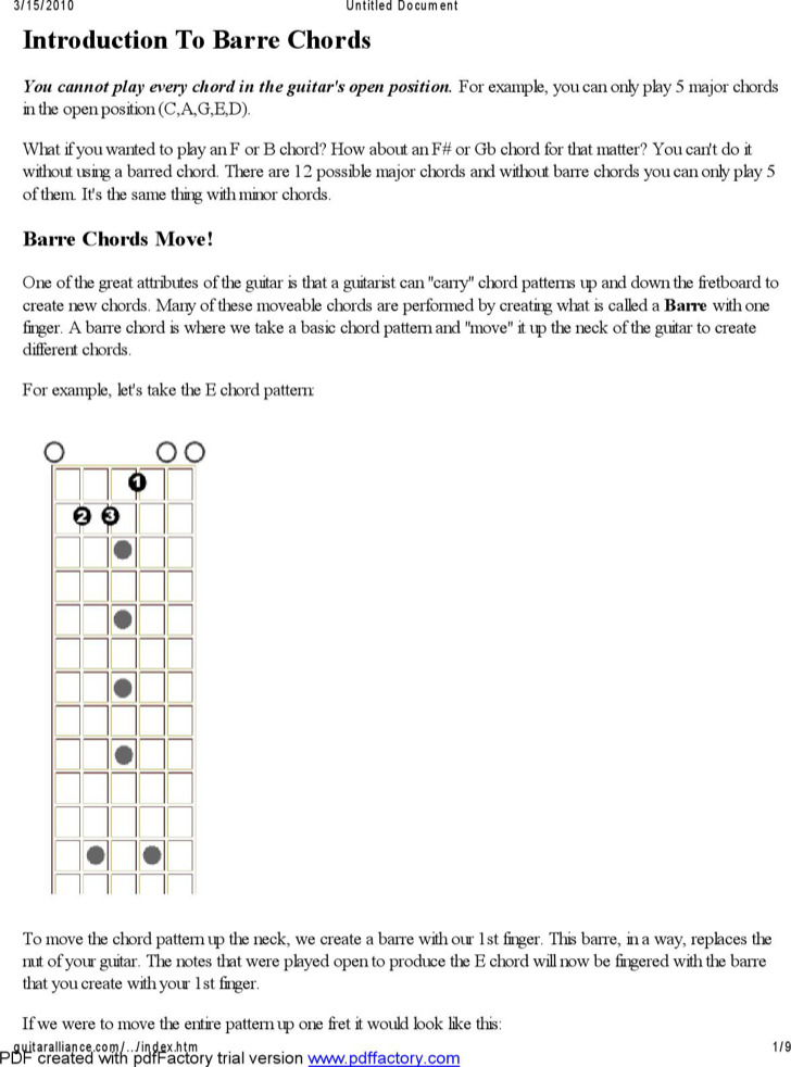 Sample Visual Guitar Chords Chart