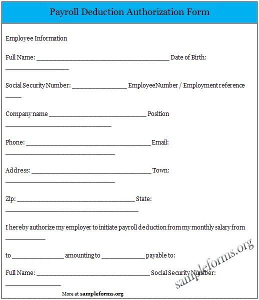 Sample Voluntary Payroll Deduction Form PDF Printable