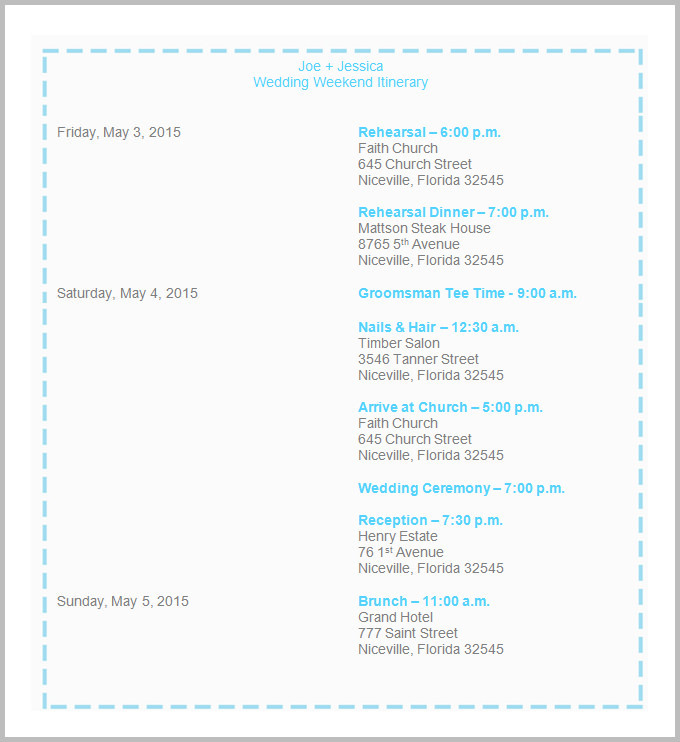 Sample Wedding Iitinerary Template Download