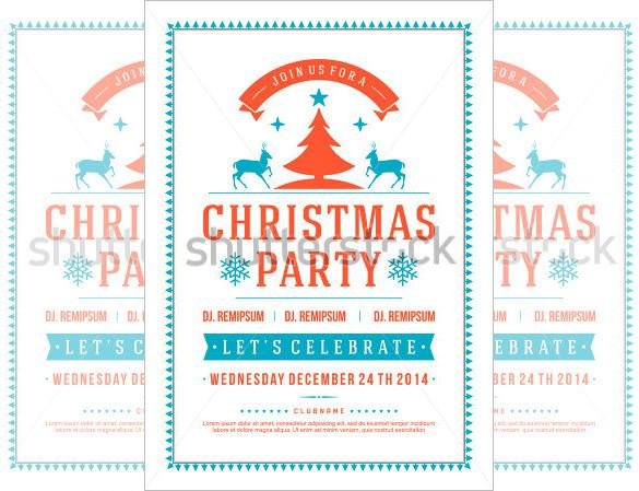 Sample White Color Holiday Party Flyer Template