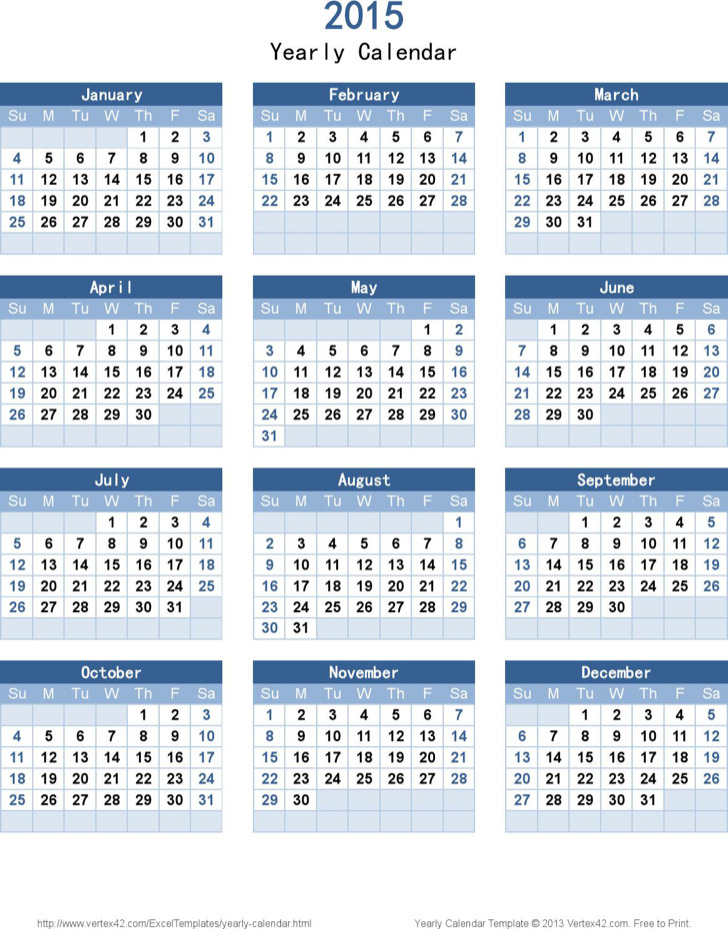 Sample Year Calendar Template
