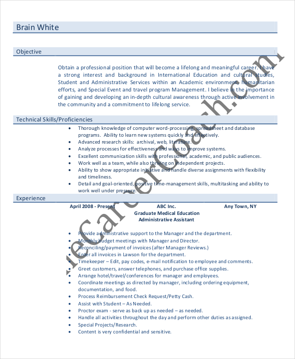 7+ Entry Level Administrative Assistant Resume Templates