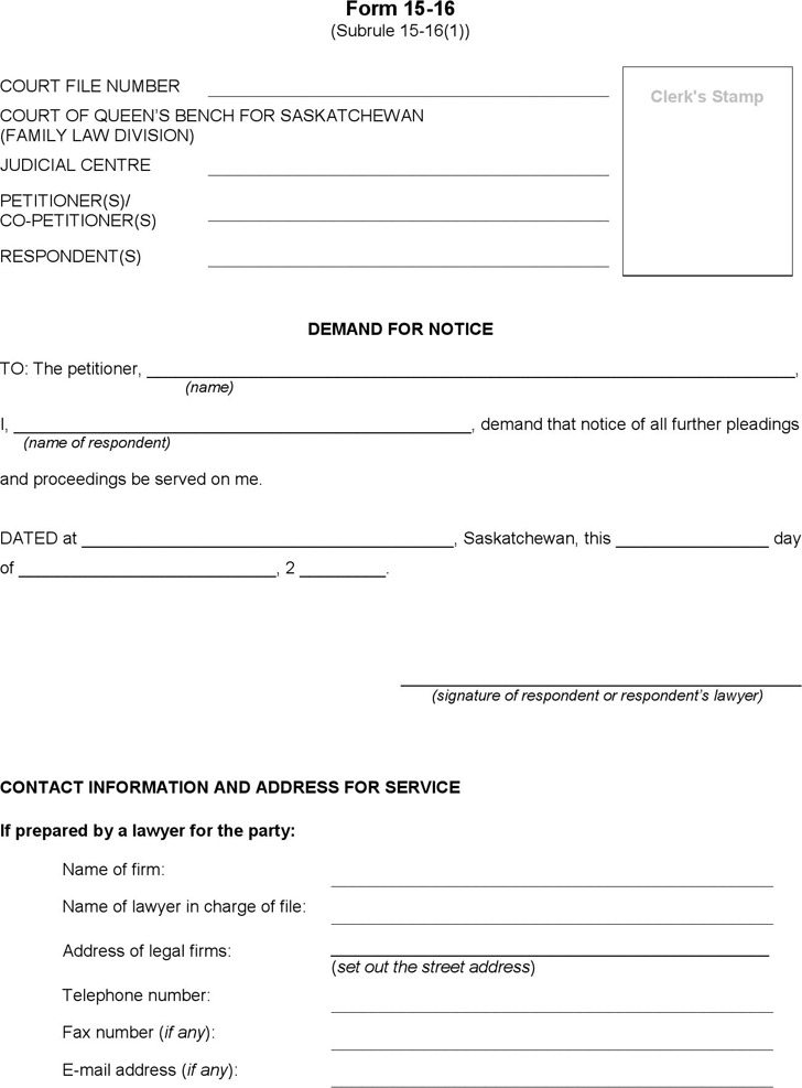 Saskatchewan Demand for Notice Form