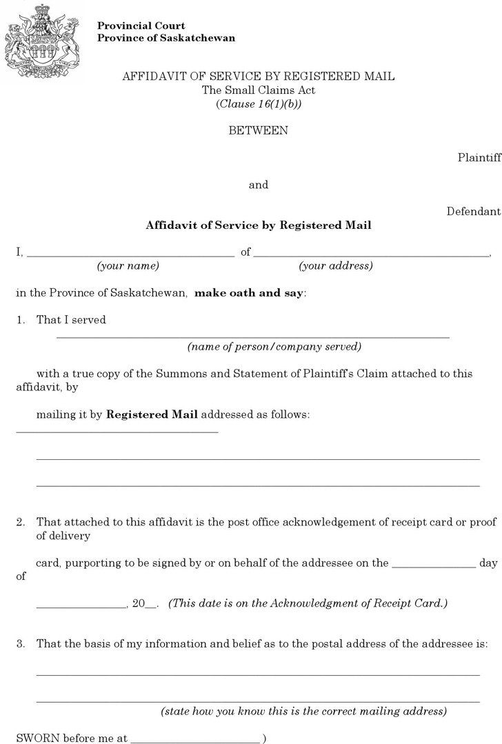 Saskatchewan Plaintiff Affidavit of Service by Registered Mail Form