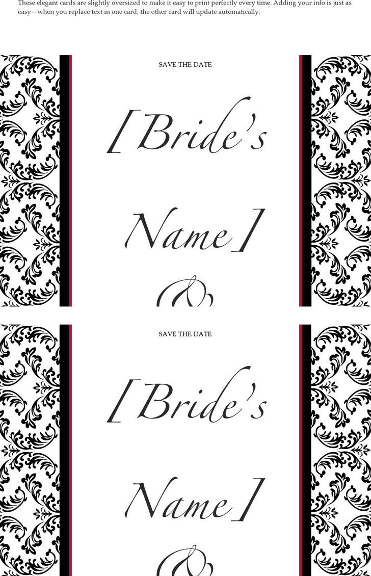 Save the Date Card (Black and White Wedding Design)