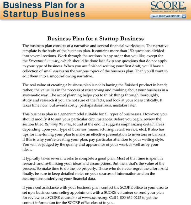 SBA Business Plan Template 2