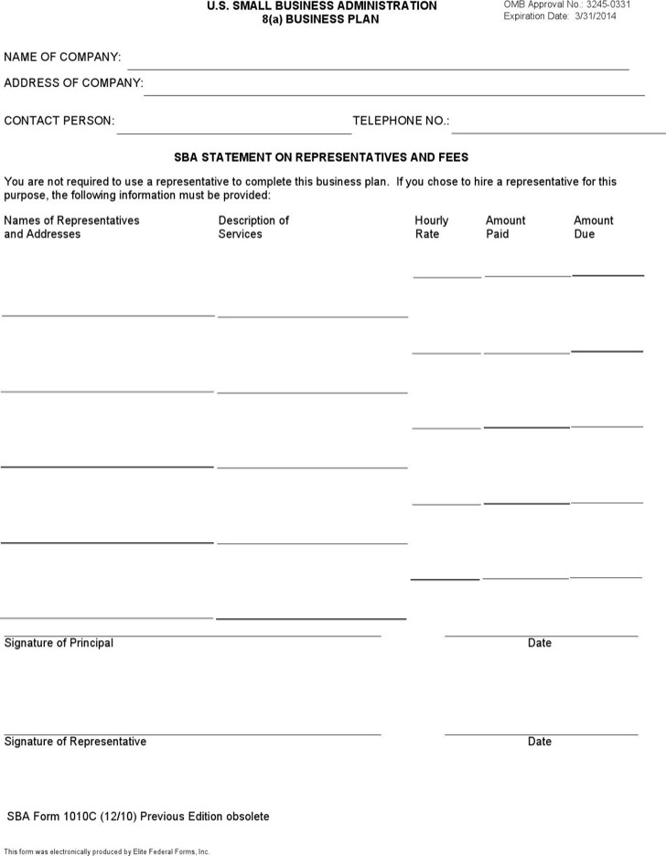 SBA Business Plan Template 3