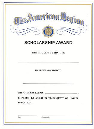 Scholarship Award Certificates