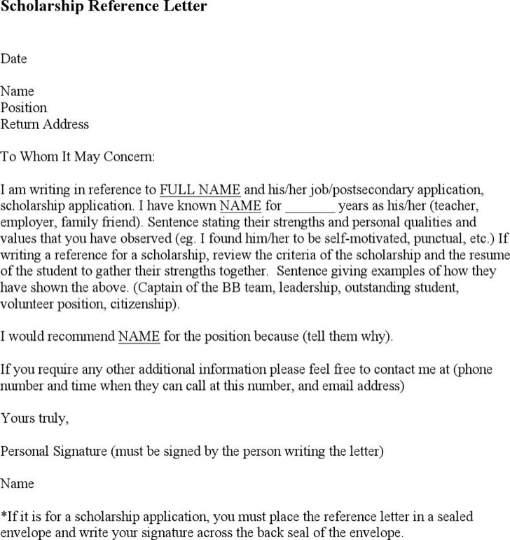 Sample College Reference Letter Templates | Download Free