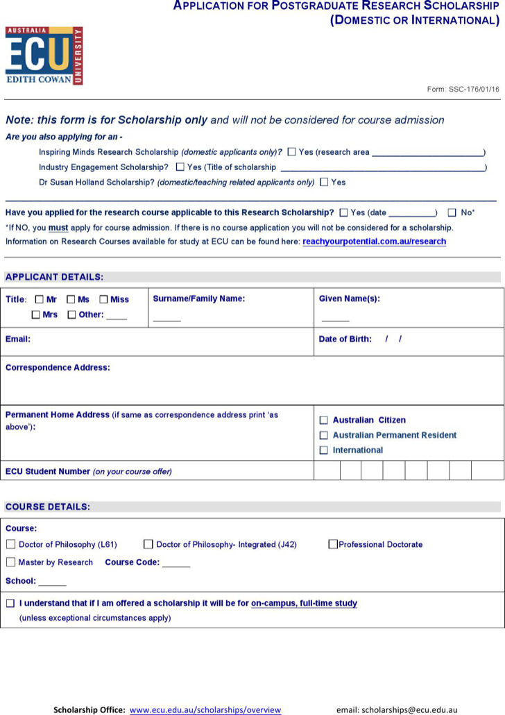 School Applicaton Form Word Document