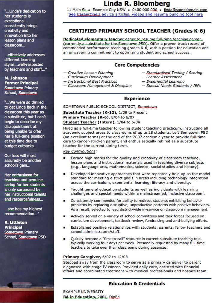 School Teacher CV Template