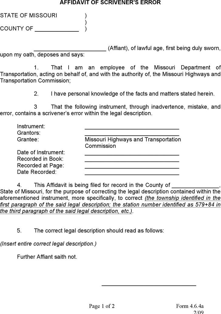 Scrivener's Error Affidavit